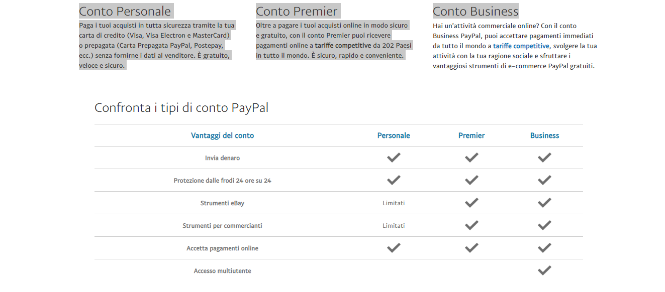 paypal differenze account