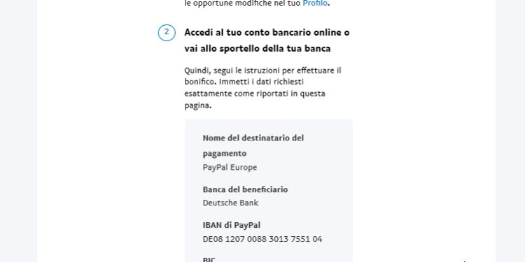 bonifico saldo Paypal